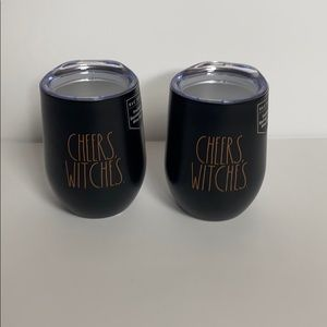 Two Rae Dunn Cheers Witches Tumblers w Lids